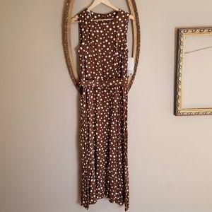[]  Vintage Brown White Spots Dress